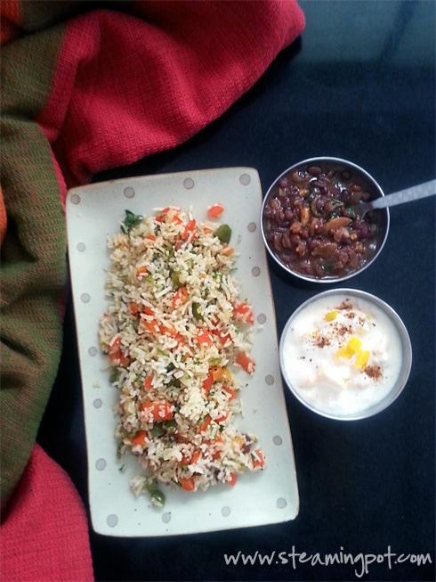 Bell Pepper Rice, Adzuki Bean Curry, Mango Raita