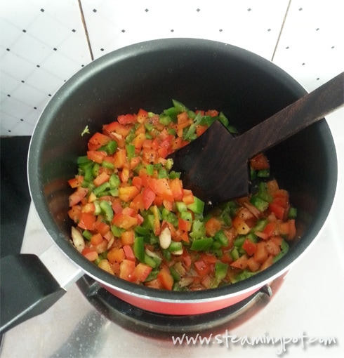 Red and Green Bell Peppers, Cooking