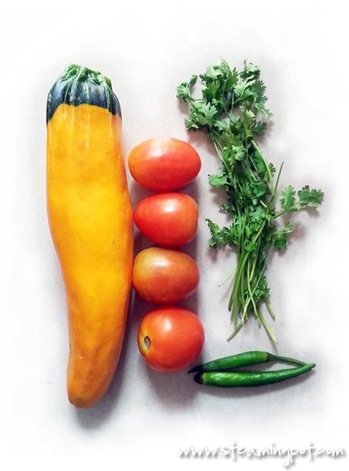 Zucchini, Tomatoes, Coriander, Green Chilies