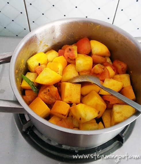 Zucchini and Tomatoes, Cooking - with Spices