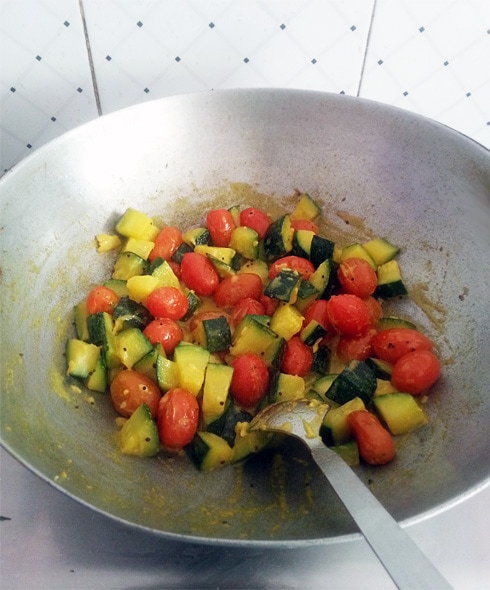 Zucchini Cherry Tomato Curry, Cooking