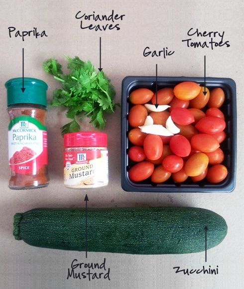 Zucchini Cherry Tomato with Mustard - Ingredients