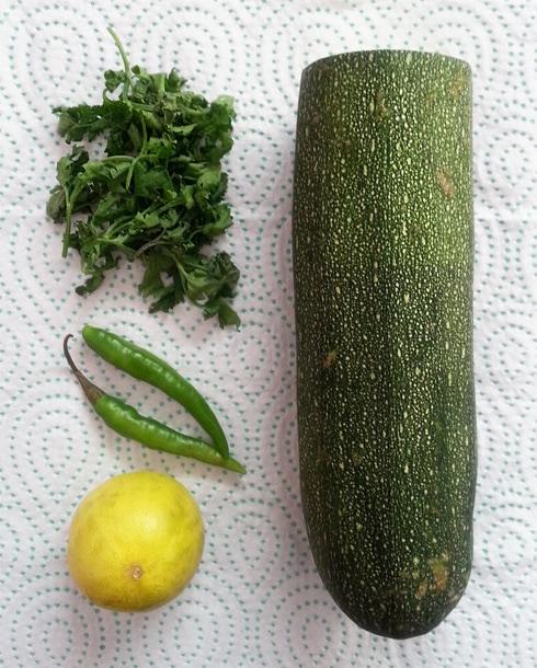 Zucchini, Coriander, Green Chilies, Lime