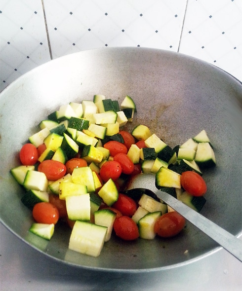 Zucchini and Cherry Tomatoes, Cooking