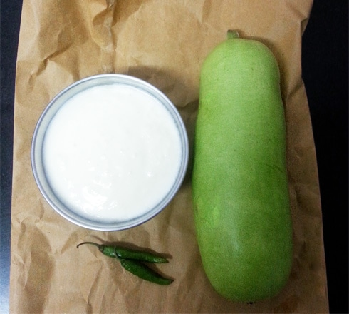 Bottle Gourd, Green Chilies, Yogurt