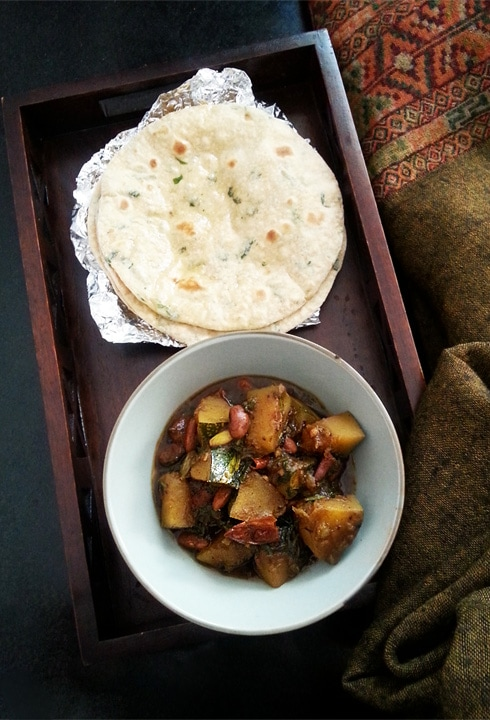 Pumpkin Kidney Bean Curry with Chapatis