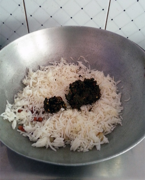 Rice with Methi Paste, Cooking