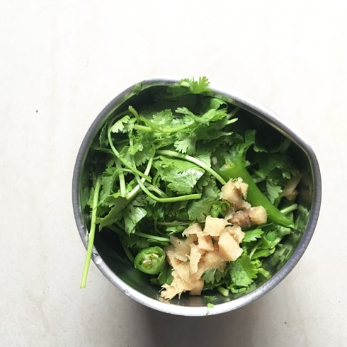 Coriander, Ginger, Green Chilies
