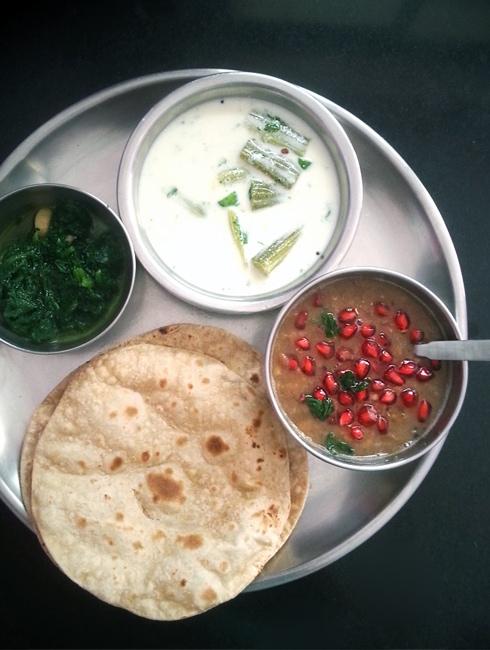 Drumstick Raita, Masoor Dal, Spinach