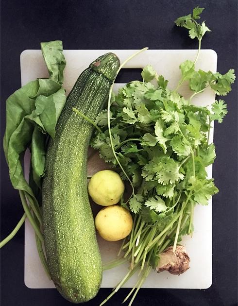 Spinach, Zucchini, Lemon, Coriander