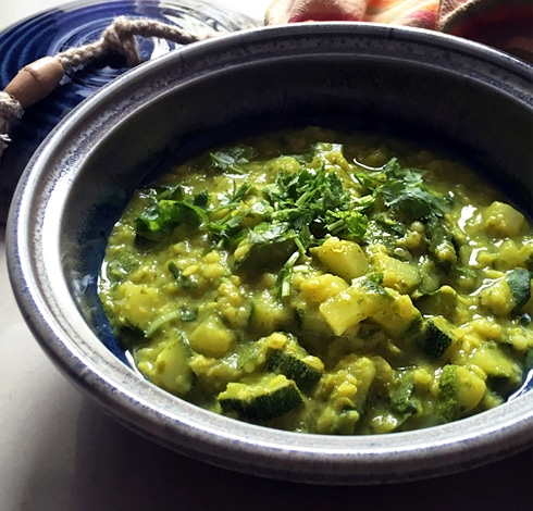 Zucchini Moong Dal with Coriander