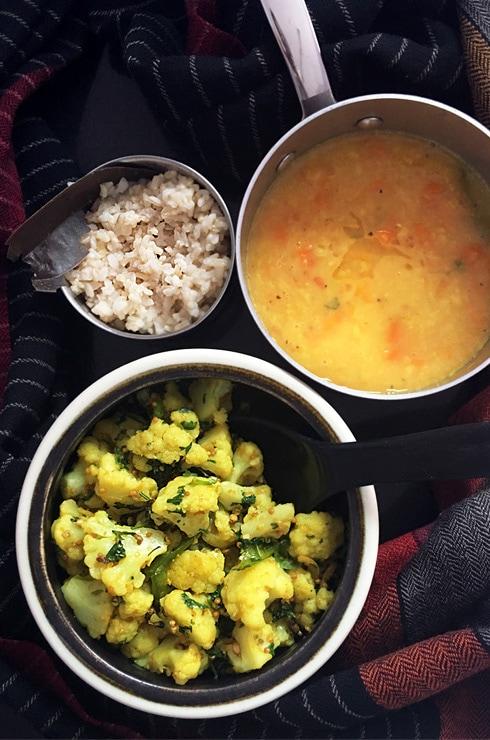 Gobhi Sarson, Dal, Rice