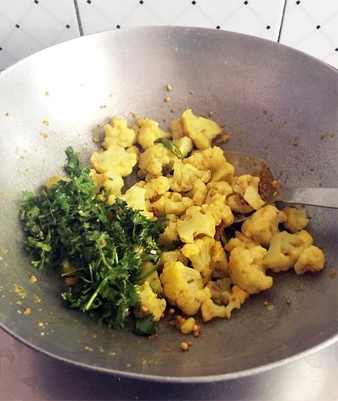 Gobhi Sarson with Coriander, Cooking