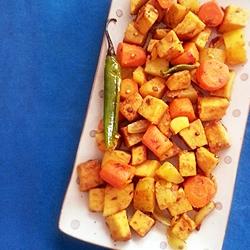 Khad Ki Sabzi: Yam, Carrot and Potato Medley