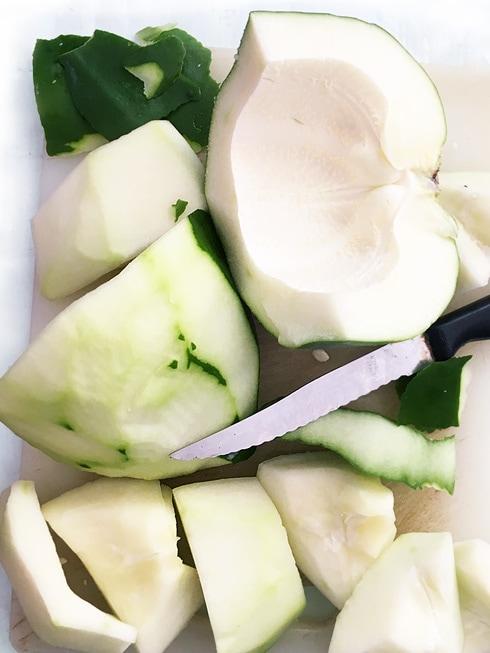 Raw Papaya Peeled and Chopped