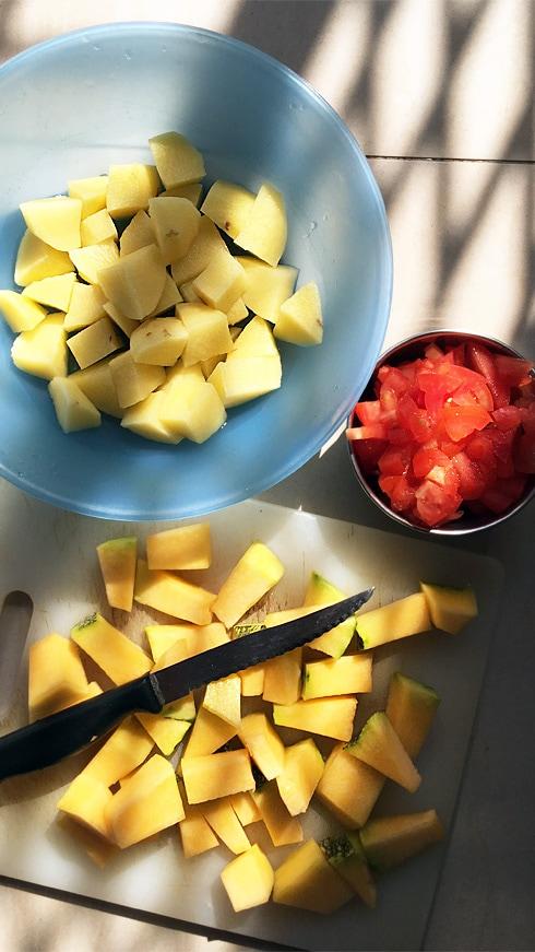 Chopped Potatoes, Tomatoes, Pumpkin