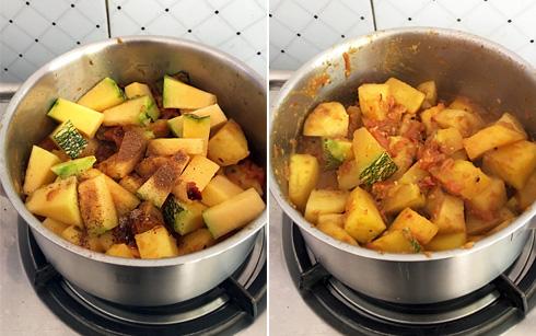Potatoes and Pumpkin, Cooking
