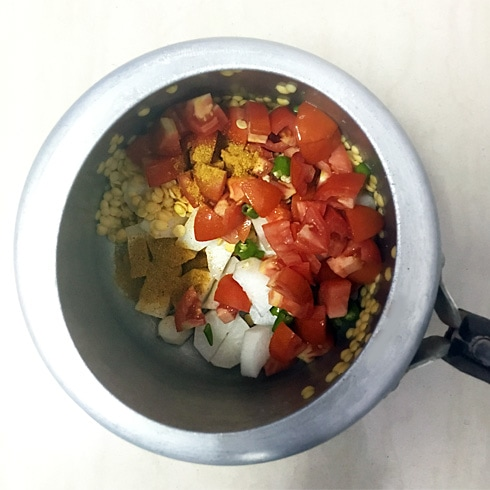 Toor Dal and Vegetables in Pressure Cooker