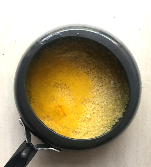 Yellow Moong and Turmeric in Pressure Cooker
